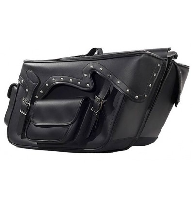 Large Saddlebags with Exterior Pockets and Studs