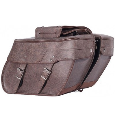 Medium Size Brown Slanted Saddlebags