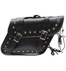 Slanted Motorcycle Saddlebags with Studs