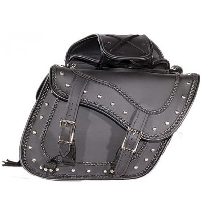 Slanted Saddlebags with Studs and Braid