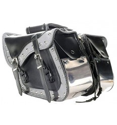 Slanted Saddlebags with Chrome Plate, Studs and Braid