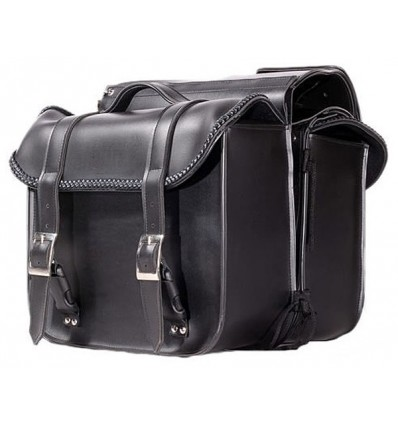 Smaller Size Plain Style Saddlebags with Braid