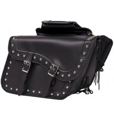 Large Slanted Braided Saddlebags with Studs