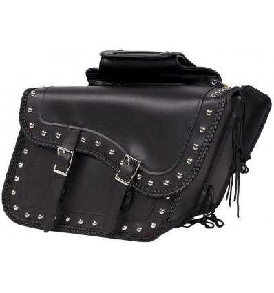 Large Size Motorcycle Saddlebags with studs and braided edges
