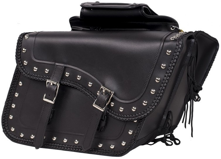 1ceca31bb8 Larger Sized Motorcycle Saddlebags with studs and decorative braid