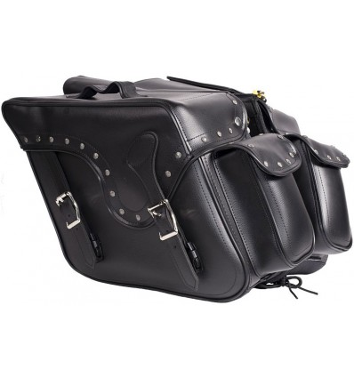 Medium Size Saddlebag with Large Outside Pockets and Studs