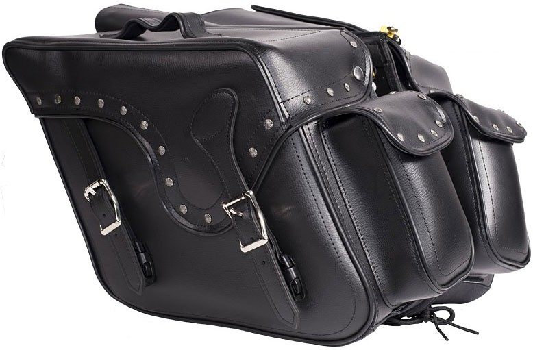 Throw-Over Saddle Bags Black, Heavy Duty Motorcycle Biker