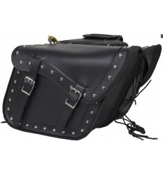 Studded Black Motorcycle Saddlebags with Gun Holsters