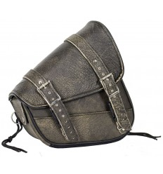 Distressed Brown Leather Right Side Solo Motorcycle Swing Arm Bag
