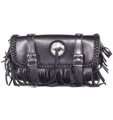 Motorcycle Fork Tool Bag with Decorative Fringe, Braid and Concho 12""