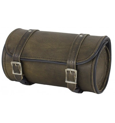 Dark Brown Leather Motorcycle Fork Tool Bag 10""