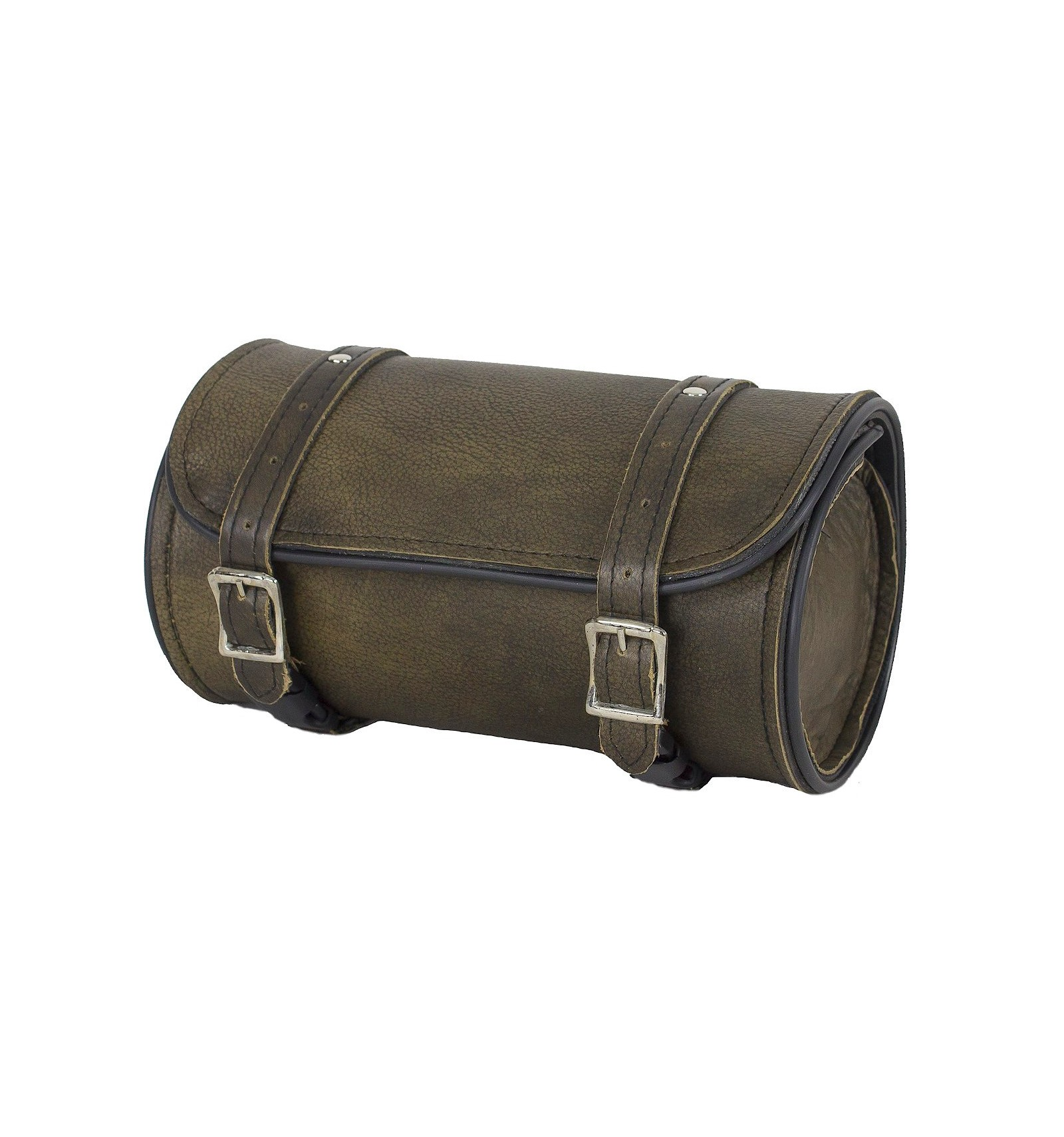 """10/"""" W MOTORCYCLE HARD BRAIDED COWHIDE BROWN LEATHER TOOL BAG FOR YAMAHA YDC9"""