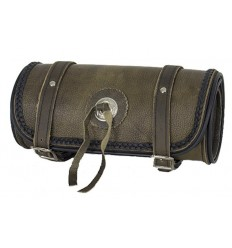 Dark Brown Leather Motorcycle Fork Tool Bag with Concho 10""