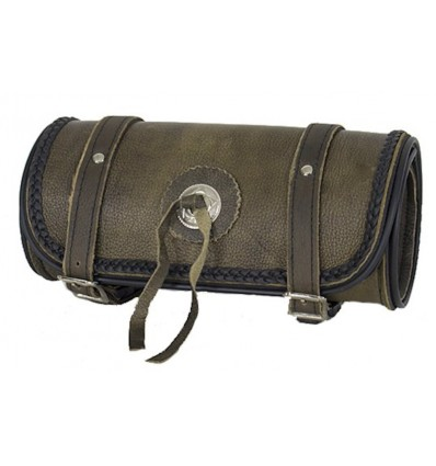 """Dark Brown Leather Motorcycle Fork Tool Bag with Concho 10"""""""