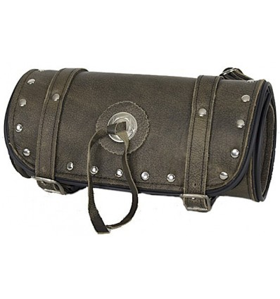 Dark Brown Leather Motorcycle Fork Tool Bag with Studs and Concho 10""