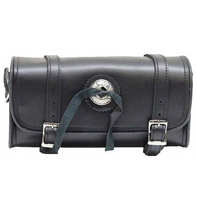 """Black Leather Motorcycle Fork Tool Bag with Concho 10"""""""