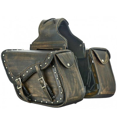 Distressed Brown Leather Concealed Carry Saddlebags