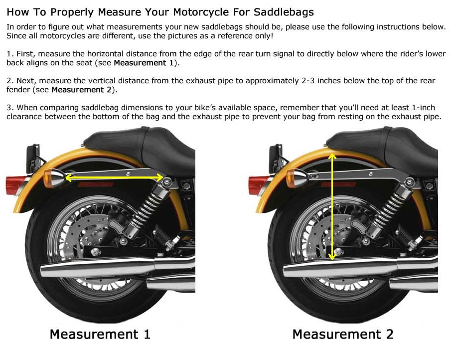 Motorcycle saddlebag sizing guide